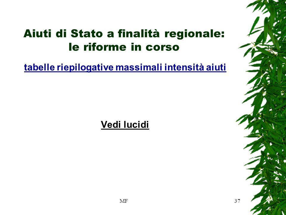 MF37 Aiuti di Stato a finalità regionale: le riforme in corso tabelle riepilogative massimali intensità aiuti Vedi lucidi