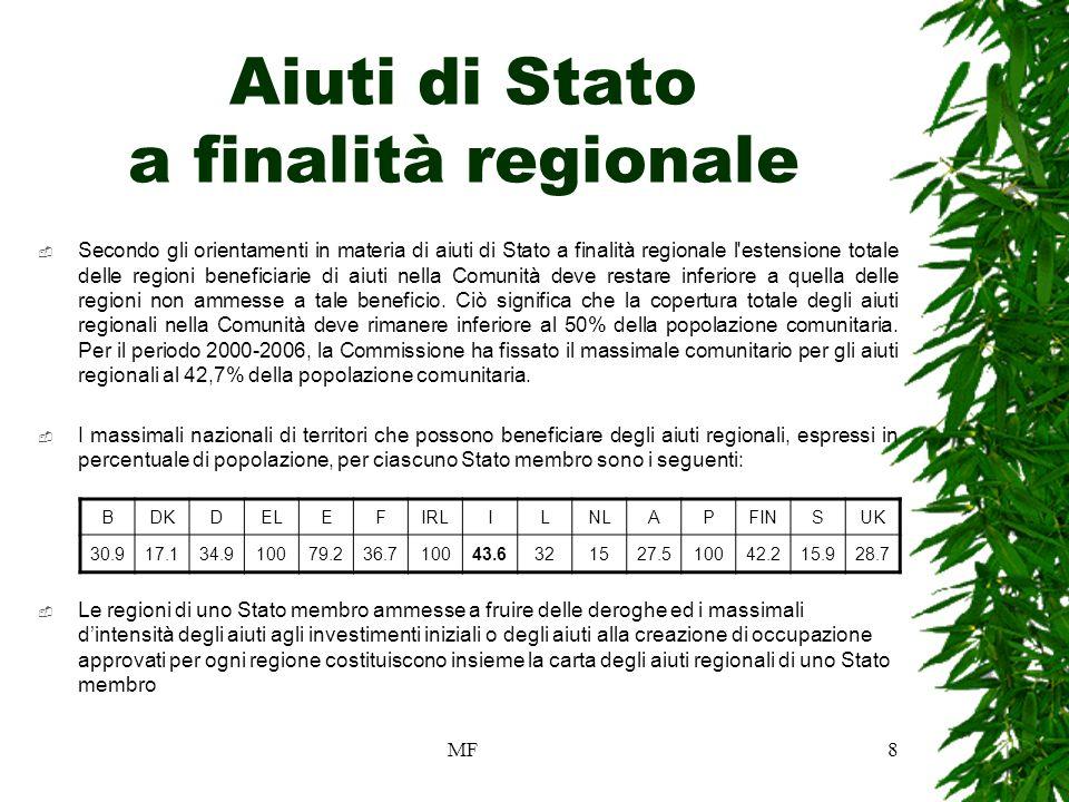 MF8 Aiuti di Stato a finalità regionale Secondo gli orientamenti in materia di aiuti di Stato a finalità regionale l estensione totale delle regioni beneficiarie di aiuti nella Comunità deve restare inferiore a quella delle regioni non ammesse a tale beneficio.