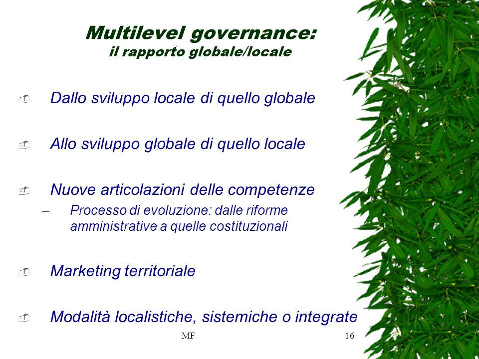 MF16 Multilevel governance: il rapporto globale/locale Dallo sviluppo locale di quello globale Allo sviluppo globale di quello locale Nuove articolazioni delle competenze –Processo di evoluzione: dalle riforme amministrative a quelle costituzionali Marketing territoriale Modalità localistiche, sistemiche o integrate