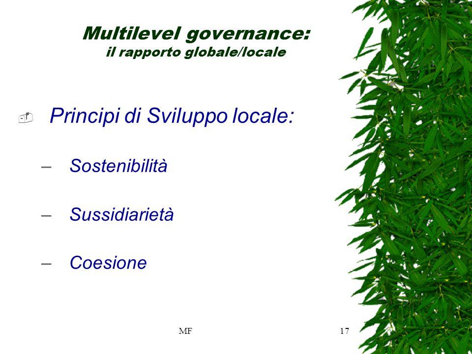 MF17 Multilevel governance: il rapporto globale/locale Principi di Sviluppo locale: –Sostenibilità –Sussidiarietà –Coesione