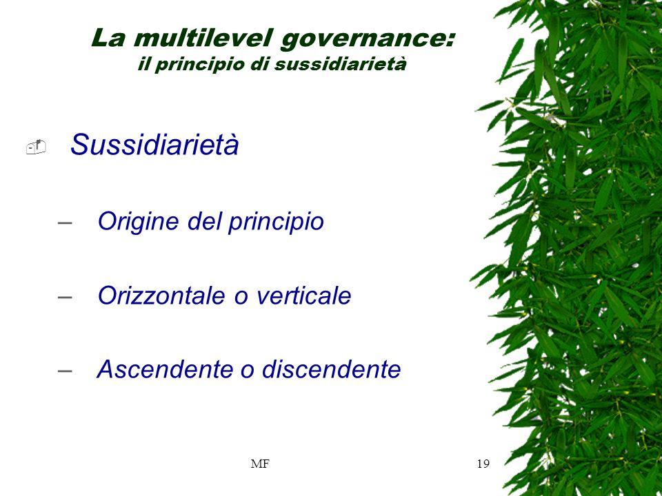 MF19 La multilevel governance: il principio di sussidiarietà Sussidiarietà –Origine del principio –Orizzontale o verticale –Ascendente o discendente