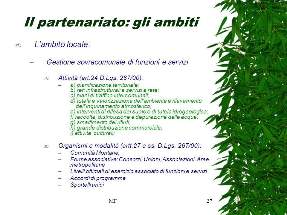 MF27 Il partenariato: gli ambiti Lambito locale: –Gestione sovracomunale di funzioni e servizi Attività (art.24 D.Lgs.