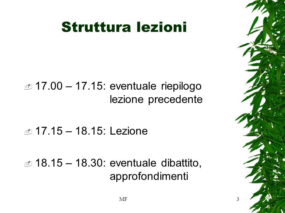 MF3 Struttura lezioni 17.00 – 17.15:eventuale riepilogo lezione precedente 17.15 – 18.15:Lezione 18.15 – 18.30:eventuale dibattito, approfondimenti