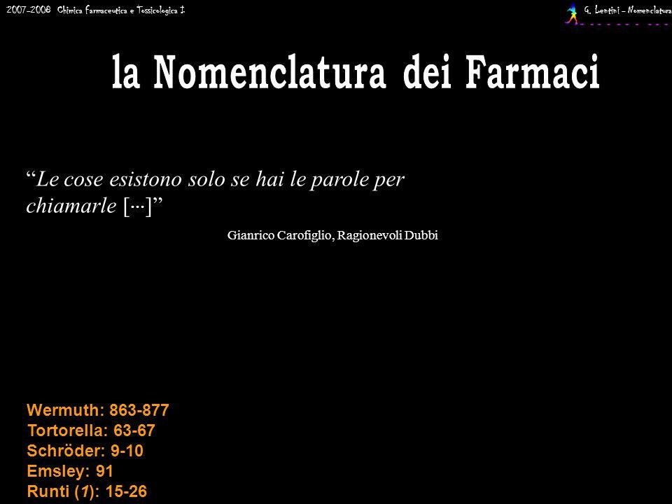 2007-2008 Chimica Farmaceutica e Tossicologica I G. Lentini - Nomenclatura Wermuth: 863-877 Tortorella: 63-67 Schröder: 9-10 Emsley: 91 Runti (1): 15-