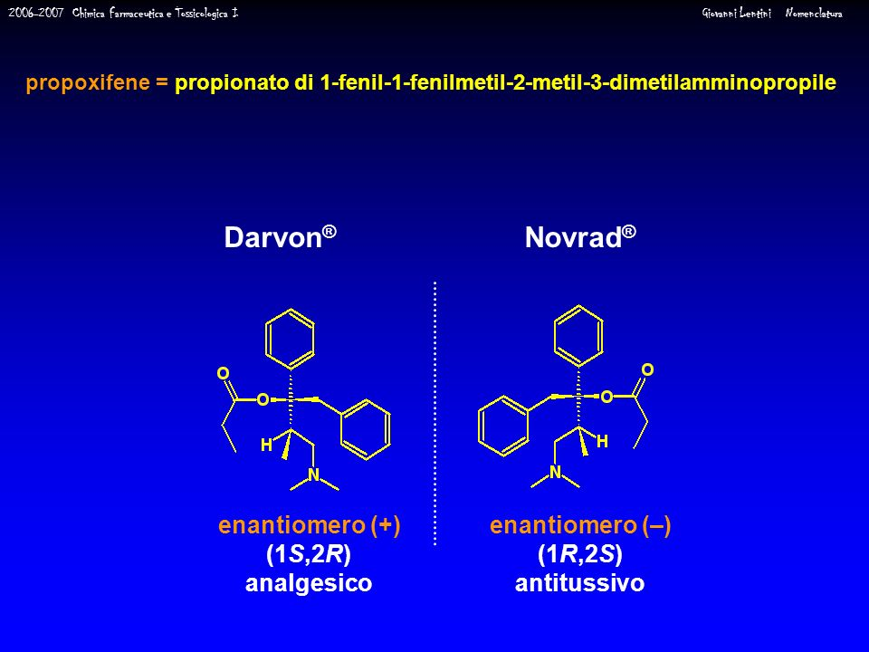2006-2007 Chimica Farmaceutica e Tossicologica I Giovanni Lentini Nomenclatura Darvon ® Novrad ® enantiomero (+) (1S,2R) analgesico enantiomero (–) (1