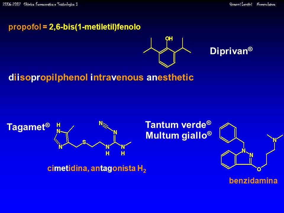 2006-2007 Chimica Farmaceutica e Tossicologica I Giovanni Lentini Nomenclatura propofol = 2,6-bis(1-metiletil)fenolo Diprivan ® diisopropilphenol intr