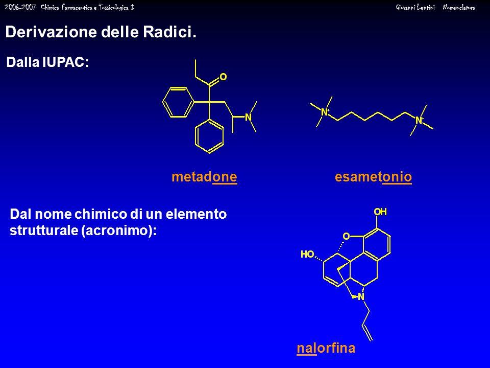 2006-2007 Chimica Farmaceutica e Tossicologica I Giovanni Lentini Nomenclatura Derivazione delle Radici. Dalla IUPAC: Dal nome chimico di un elemento