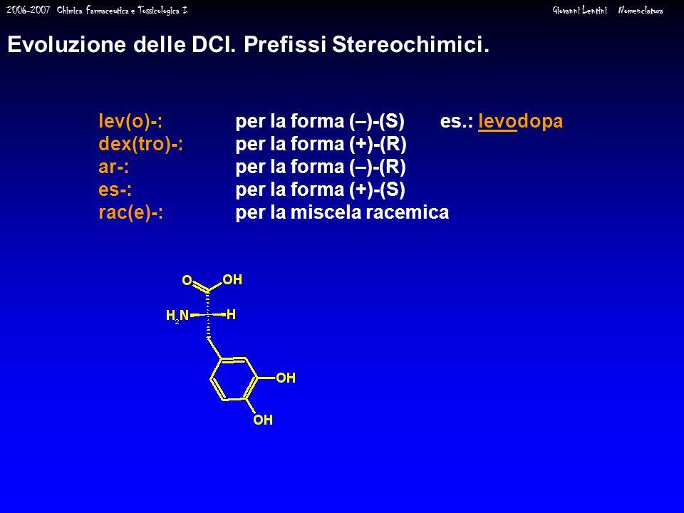 2006-2007 Chimica Farmaceutica e Tossicologica I Giovanni Lentini Nomenclatura lev(o)-: per la forma (–)-(S)es.: levodopa dex(tro)-: per la forma (+)-