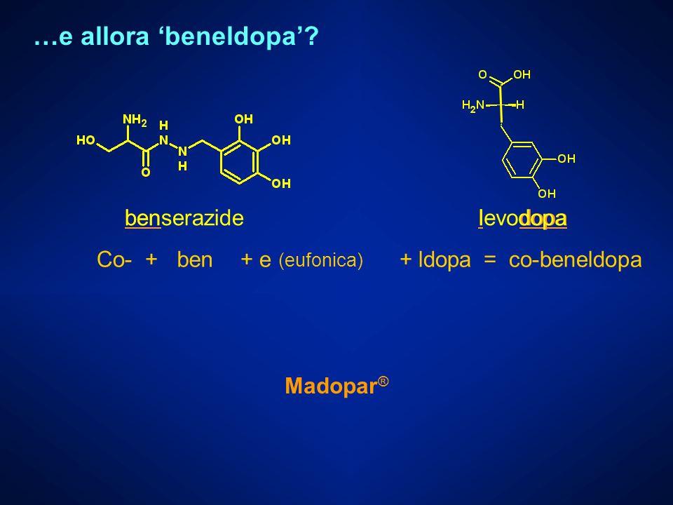 2007-2008 Chimica Farmaceutica e Tossicologica I G. Lentini - Nomenclatura Co- +ben+ ldopa= co-beneldopa benl dopa …e allora beneldopa? + e (eufonica)