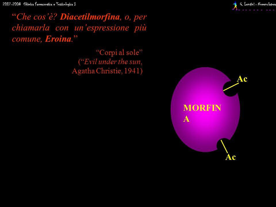 2007-2008 Chimica Farmaceutica e Tossicologica I G. Lentini - Nomenclatura EROINA Ac MORFIN A Che cosè? Diacetilmorfina, o, per chiamarla con unespres