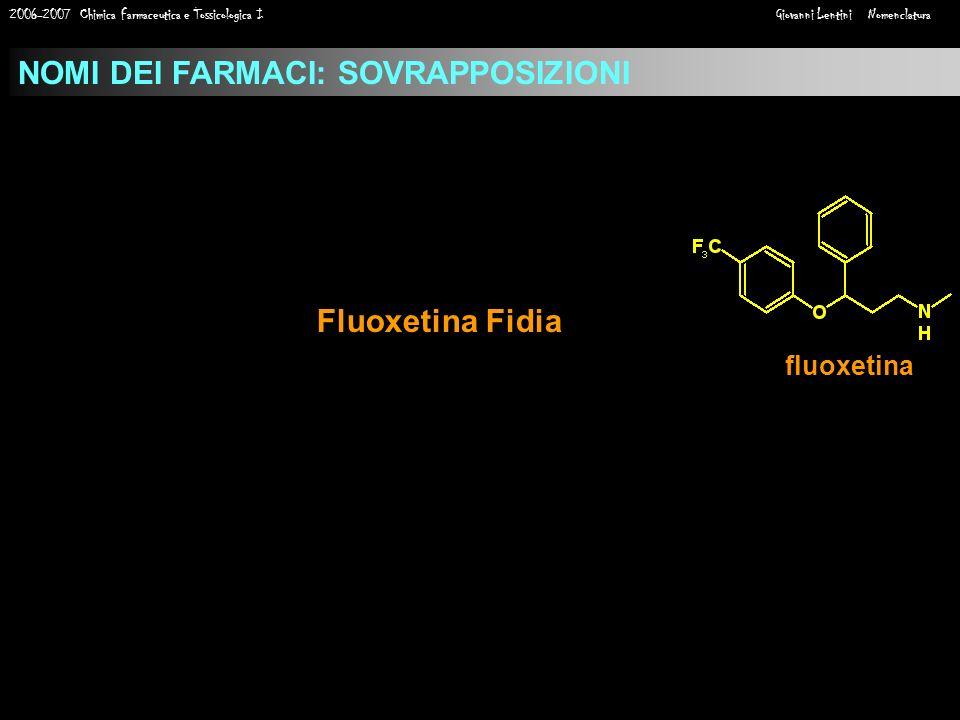 2006-2007 Chimica Farmaceutica e Tossicologica I Giovanni Lentini Nomenclatura NOMI DEI FARMACI: SOVRAPPOSIZIONI fluoxetina Fluoxetina Fidia