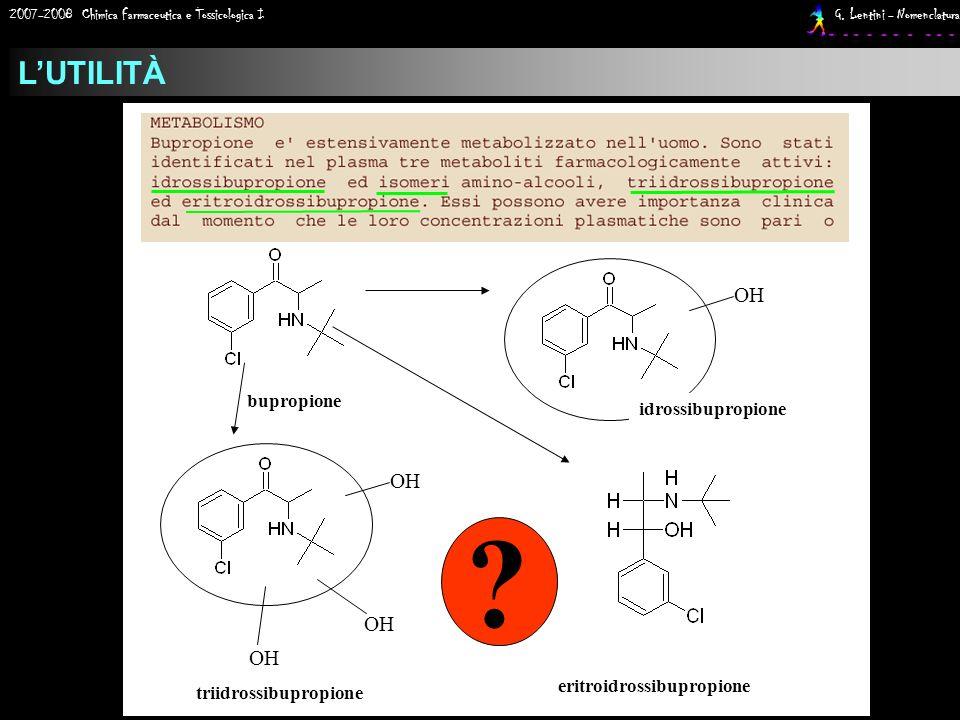 2007-2008 Chimica Farmaceutica e Tossicologica I G. Lentini - Nomenclatura LUTILITÀ ? eritroidrossibupropione bupropione OH idrossibupropione OH triid