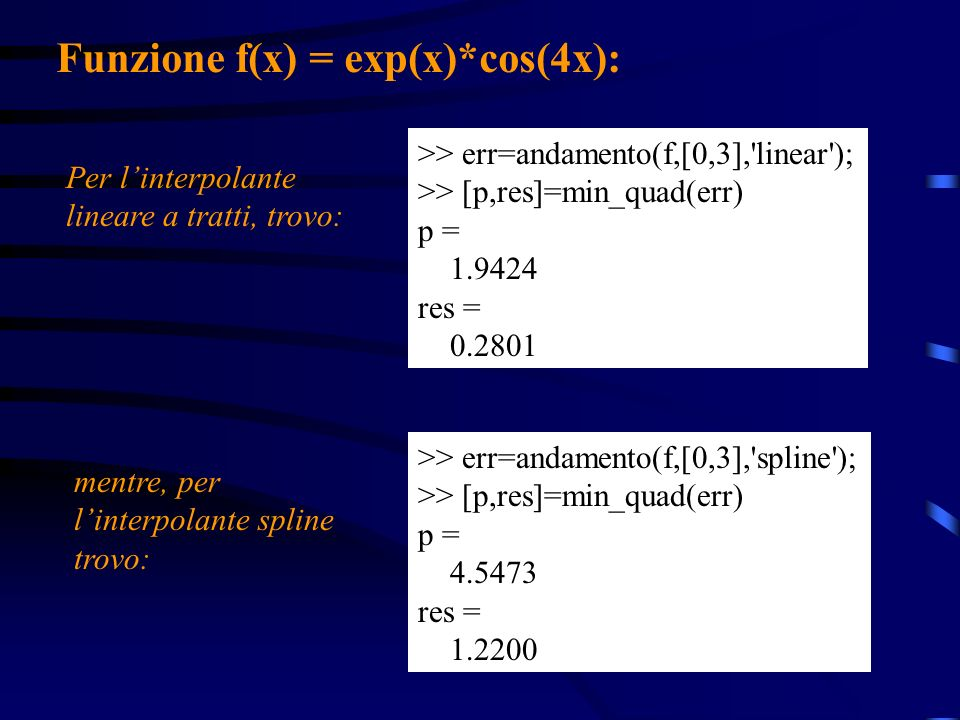 >> err=andamento(f,[0,3],'spline'); >> [p,res]=min_quad(err) p = 4.5473 res = 1.2200 >> err=andamento(f,[0,3],'linear'); >> [p,res]=min_quad(err) p =