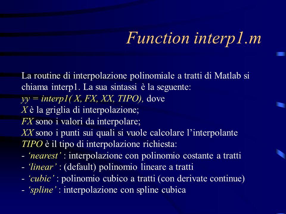 Function interp1.m La routine di interpolazione polinomiale a tratti di Matlab si chiama interp1. La sua sintassi è la seguente: yy = interp1( X, FX,