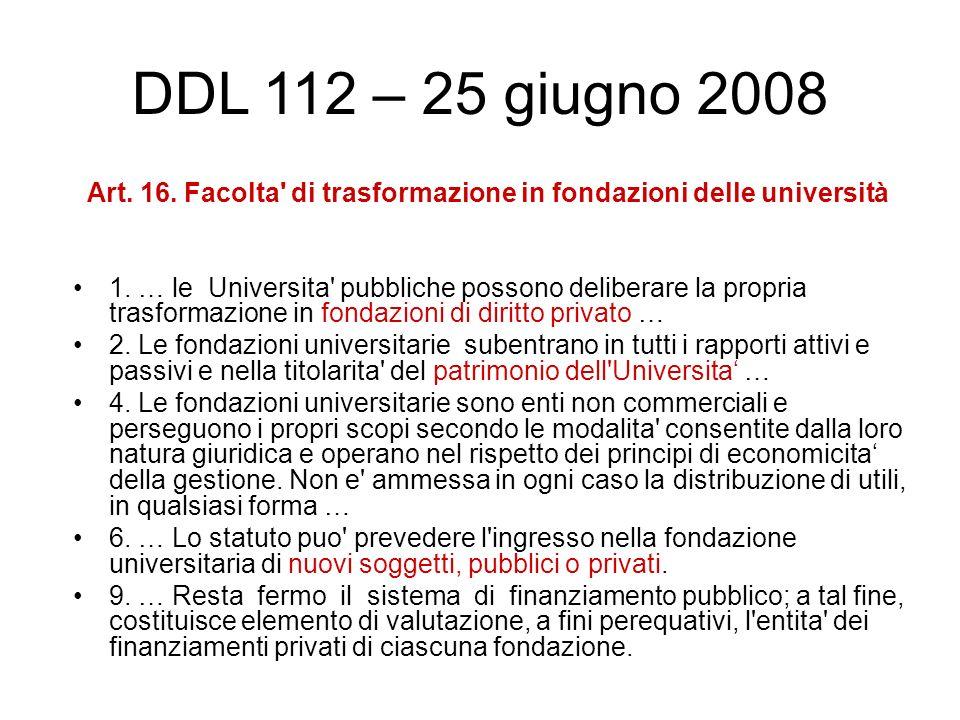 Art. 16. Facolta di trasformazione in fondazioni delle università 1.