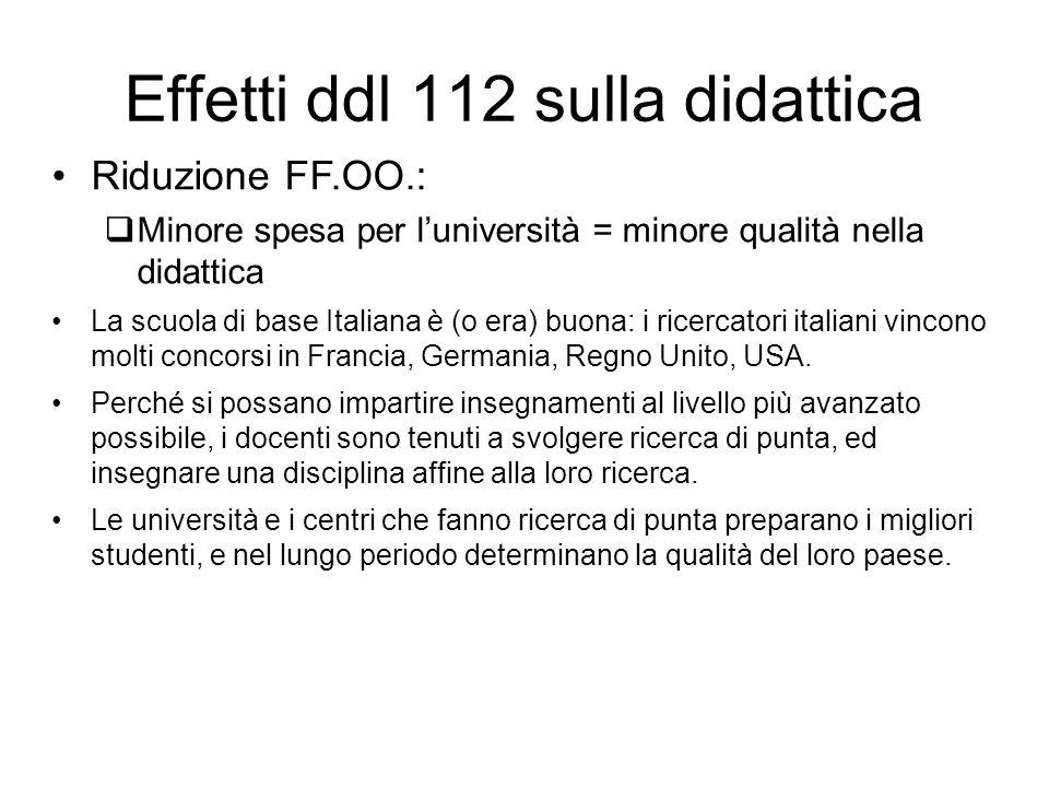 Effetti ddl 112 sulla didattica Riduzione FF.OO.: Minore spesa per luniversità = minore qualità nella didattica La scuola di base Italiana è (o era) buona: i ricercatori italiani vincono molti concorsi in Francia, Germania, Regno Unito, USA.