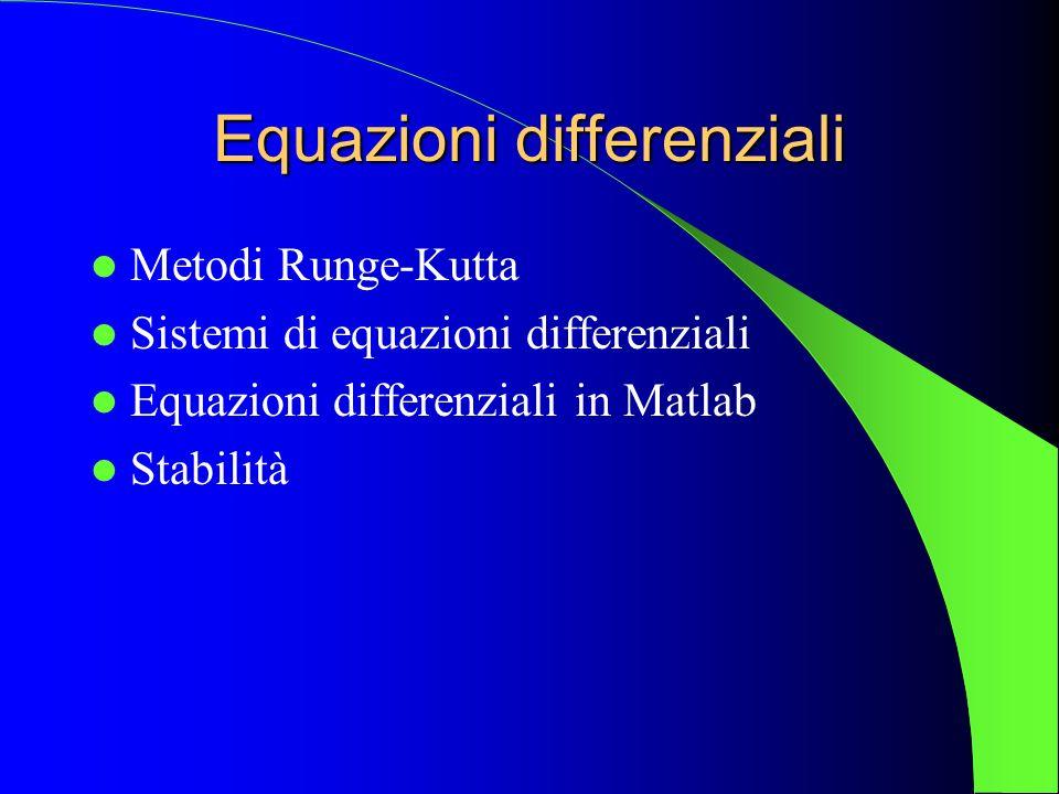 Esempio 2 Per integrare il sistema differenziale con le equazioni del pendolo, devo dare il comando: >> [t,y]=ode45( pend_lin ,[0,5],[0,1]); In questo caso, le equazioni del pendolo vengono integrate da t0=0 a tf=5, con condizioni iniziali y0(0) = [0,1], cioè con posizione iniziale uguale a zero, e velocità iniziale uguale a 1