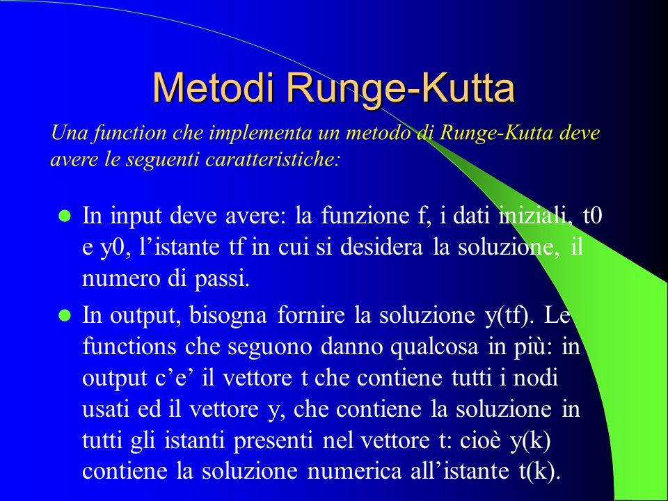 Metodi Runge-Kutta In input deve avere: la funzione f, i dati iniziali, t0 e y0, listante tf in cui si desidera la soluzione, il numero di passi. In o