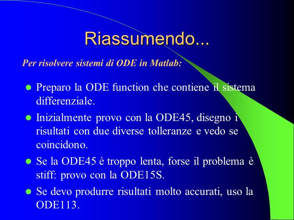 Riassumendo... Preparo la ODE function che contiene il sistema differenziale. Inizialmente provo con la ODE45, disegno i risultati con due diverse tol