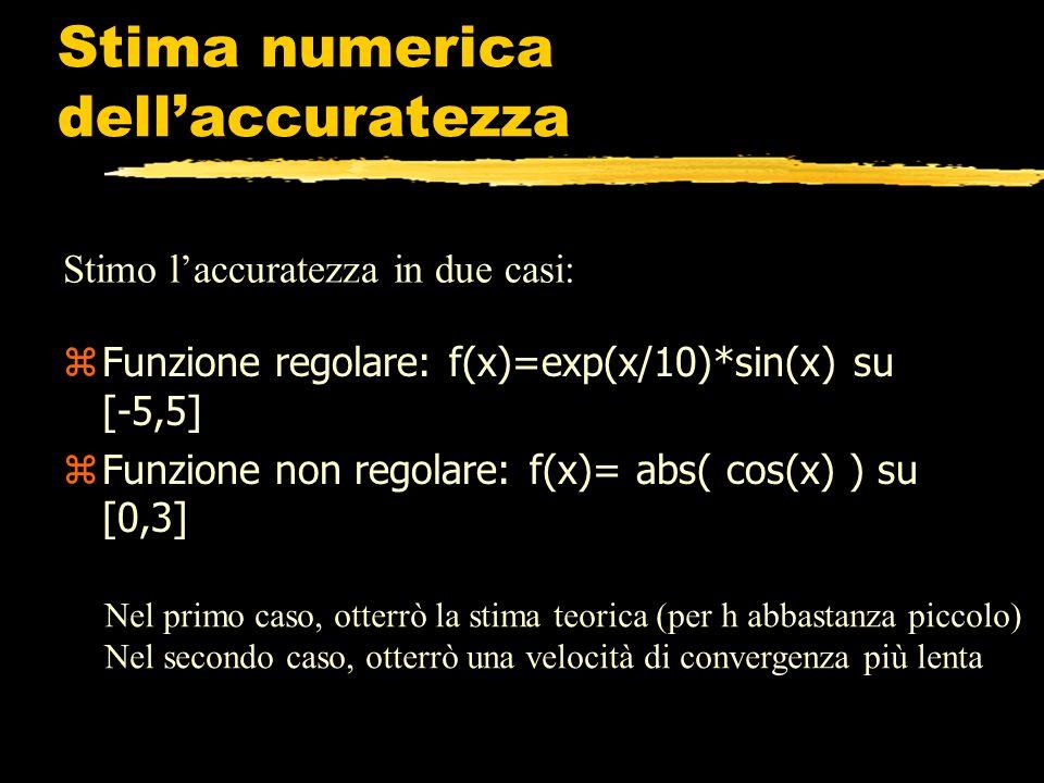 Stima numerica dellaccuratezza z Funzione regolare: f(x)=exp(x/10)*sin(x) su [-5,5] z Funzione non regolare: f(x)= abs( cos(x) ) su [0,3] Stimo laccur