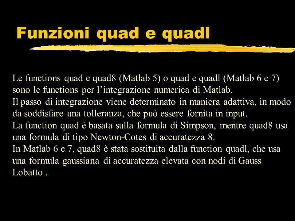 Funzioni quad e quadl Le functions quad e quad8 (Matlab 5) o quad e quadl (Matlab 6 e 7) sono le functions per lintegrazione numerica di Matlab. Il pa
