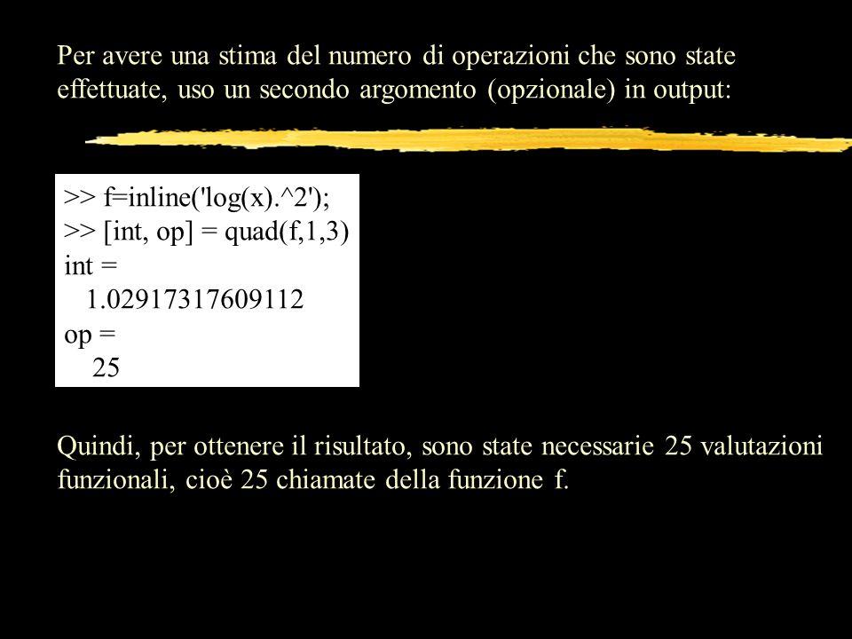 Per avere una stima del numero di operazioni che sono state effettuate, uso un secondo argomento (opzionale) in output: >> f=inline('log(x).^2'); >> [