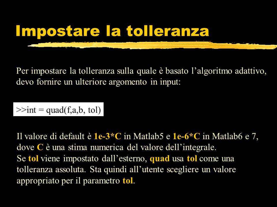 Impostare la tolleranza Per impostare la tolleranza sulla quale è basato lalgoritmo adattivo, devo fornire un ulteriore argomento in input: >>int = qu