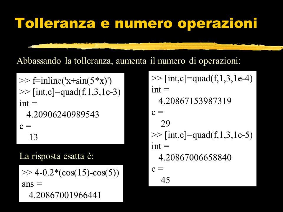 Abbassando la tolleranza, aumenta il numero di operazioni: >> f=inline('x+sin(5*x)') >> [int,c]=quad(f,1,3,1e-3) int = 4.20906240989543 c = 13 >> [int