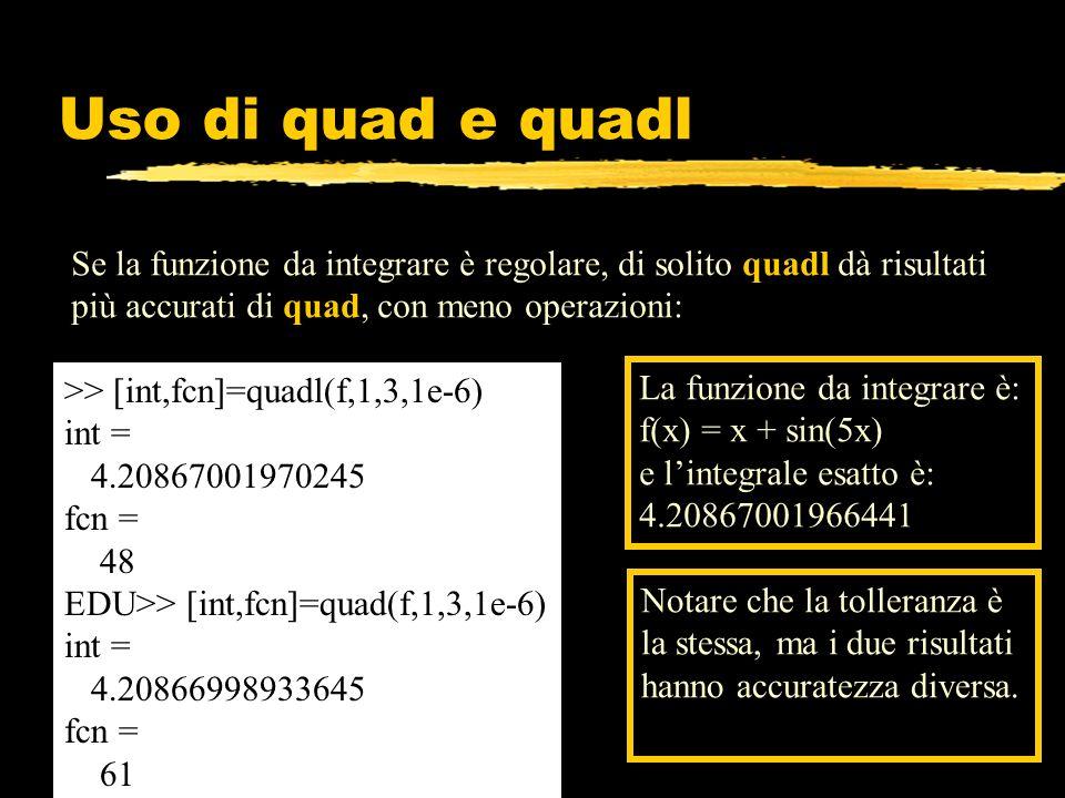 Uso di quad e quadl Se la funzione da integrare è regolare, di solito quadl dà risultati più accurati di quad, con meno operazioni: >> [int,fcn]=quadl