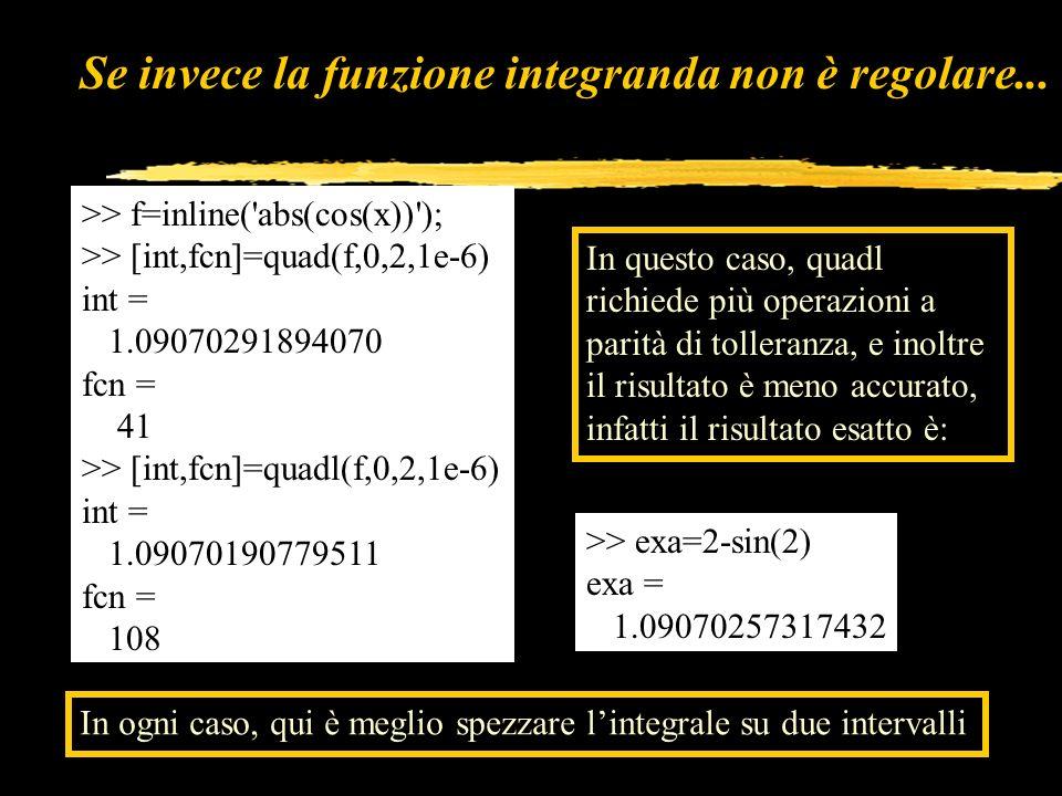 Se invece la funzione integranda non è regolare... >> f=inline('abs(cos(x))'); >> [int,fcn]=quad(f,0,2,1e-6) int = 1.09070291894070 fcn = 41 >> [int,f
