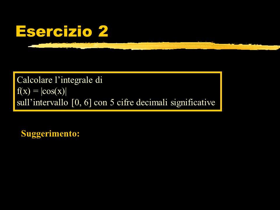 Esercizio 2 Calcolare lintegrale di f(x) = |cos(x)| sullintervallo [0, 6] con 5 cifre decimali significative Suggerimento: Qui la funzione integranda