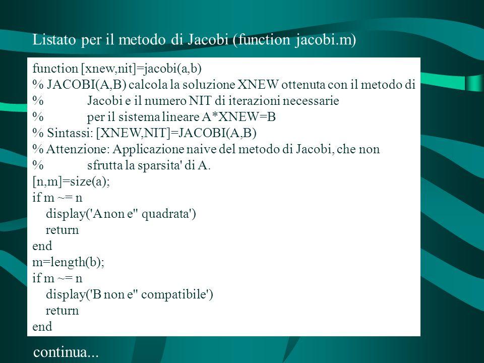 Listato per il metodo di Jacobi (function jacobi.m) function [xnew,nit]=jacobi(a,b) % JACOBI(A,B) calcola la soluzione XNEW ottenuta con il metodo di % Jacobi e il numero NIT di iterazioni necessarie % per il sistema lineare A*XNEW=B % Sintassi: [XNEW,NIT]=JACOBI(A,B) % Attenzione: Applicazione naive del metodo di Jacobi, che non % sfrutta la sparsita di A.