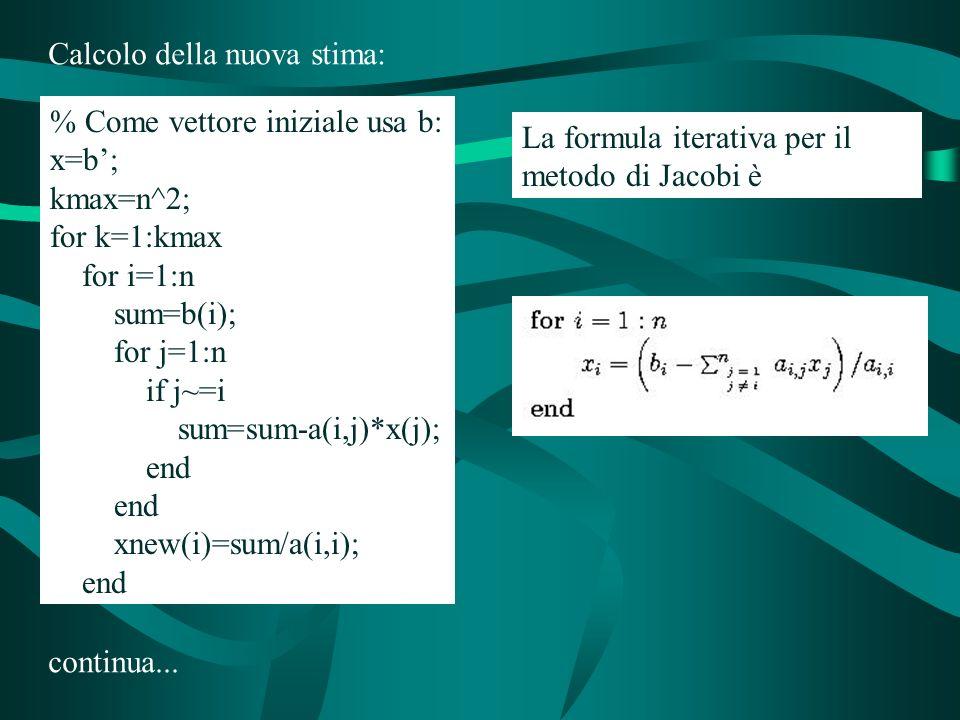% Come vettore iniziale usa b: x=b; kmax=n^2; for k=1:kmax for i=1:n sum=b(i); for j=1:n if j~=i sum=sum-a(i,j)*x(j); end xnew(i)=sum/a(i,i); end Calcolo della nuova stima: continua...