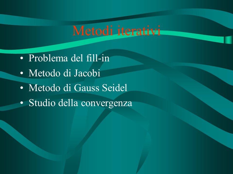 Metodi iterativi Problema del fill-in Metodo di Jacobi Metodo di Gauss Seidel Studio della convergenza