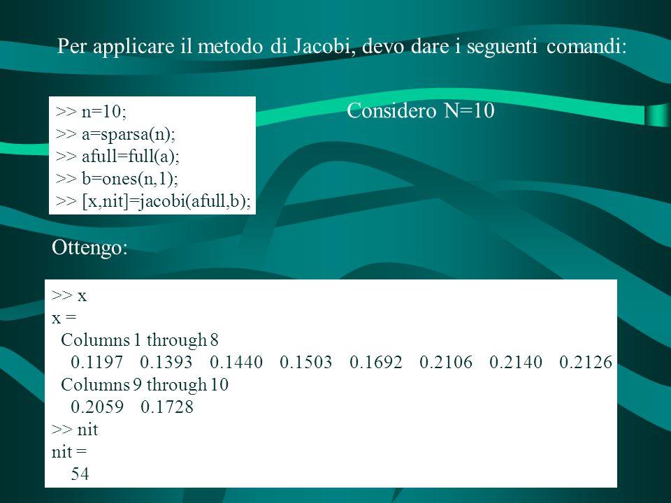 Per applicare il metodo di Jacobi, devo dare i seguenti comandi: >> n=10; >> a=sparsa(n); >> afull=full(a); >> b=ones(n,1); >> [x,nit]=jacobi(afull,b); Ottengo: >> x x = Columns 1 through 8 0.1197 0.1393 0.1440 0.1503 0.1692 0.2106 0.2140 0.2126 Columns 9 through 10 0.2059 0.1728 >> nit nit = 54 Considero N=10