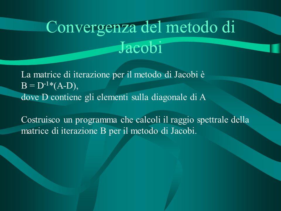 Convergenza del metodo di Jacobi La matrice di iterazione per il metodo di Jacobi è B = D -1 *(A-D), dove D contiene gli elementi sulla diagonale di A Costruisco un programma che calcoli il raggio spettrale della matrice di iterazione B per il metodo di Jacobi.