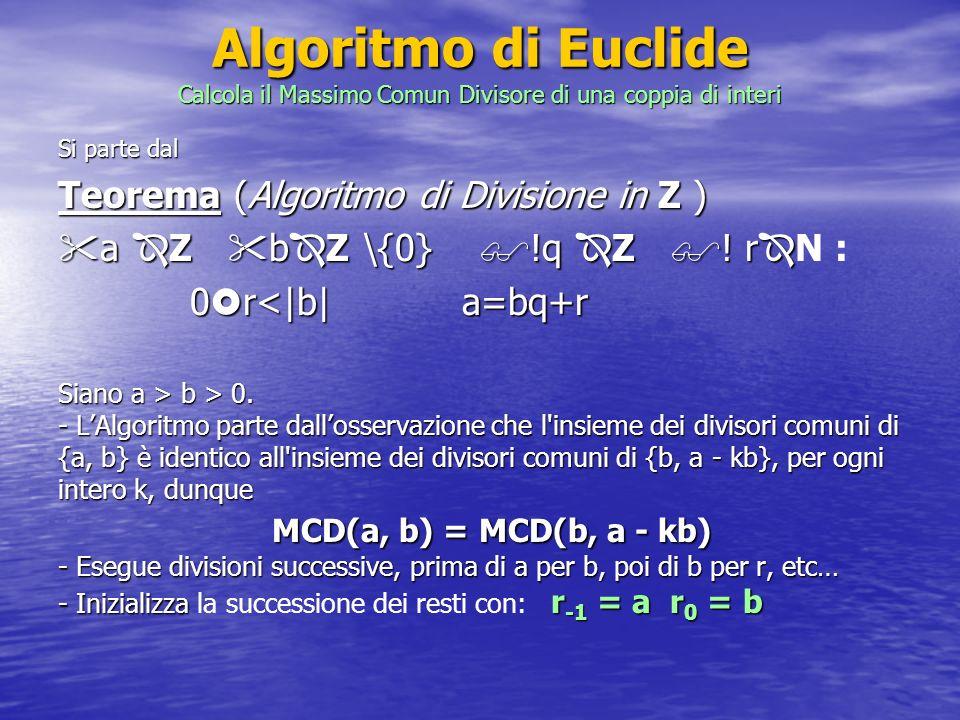 Algoritmo di Euclide Calcola il Massimo Comun Divisore di una coppia di interi Si parte dal Teorema (Algoritmo di Divisione in Z ) a Z b Z \{0} !q Z !