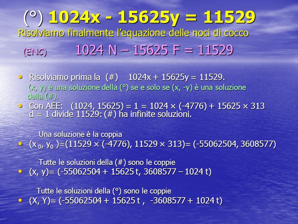 (°) 1024x - 15625y = 11529 Risolviamo finalmente lequazione delle noci di cocco (ENC) 1024 N – 15625 F = 11529 (°) 1024x - 15625y = 11529 Risolviamo f