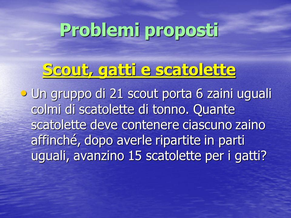 Problemi proposti Scout, gatti e scatolette Un gruppo di 21 scout porta 6 zaini uguali colmi di scatolette di tonno. Quante scatolette deve contenere