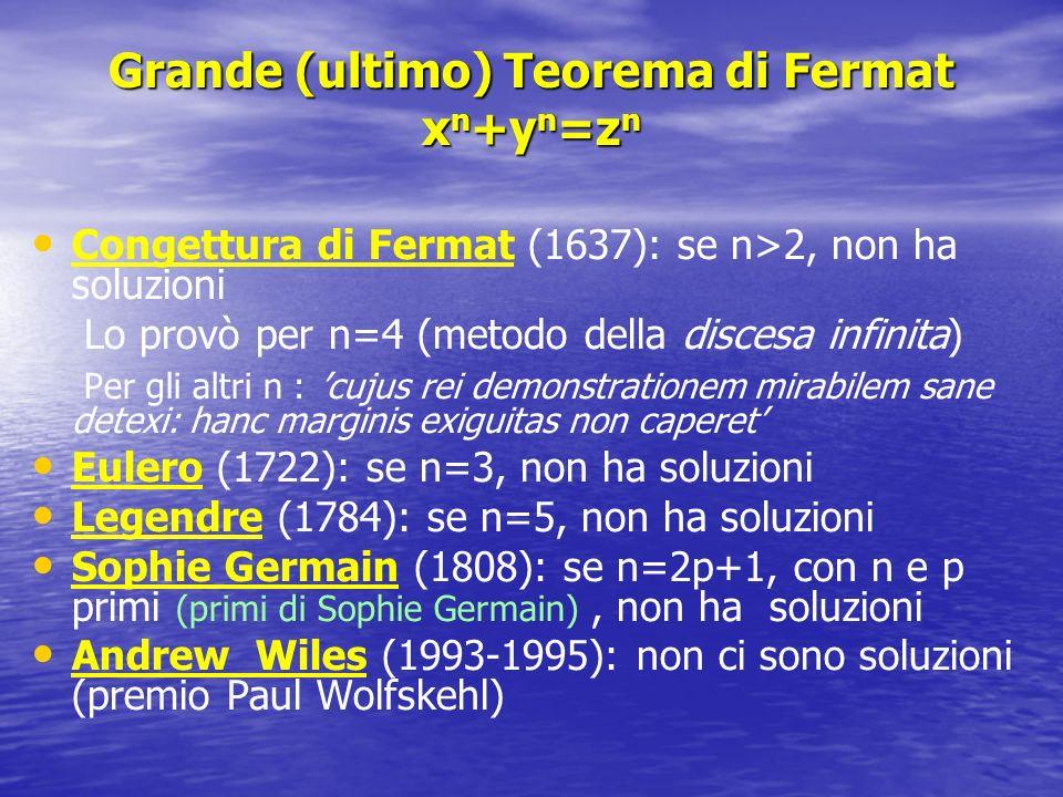 Grande (ultimo) Teorema di Fermat x n +y n =z n Congettura di Fermat (1637): se n>2, non ha soluzioni Lo provò per n=4 (metodo della discesa infinita)