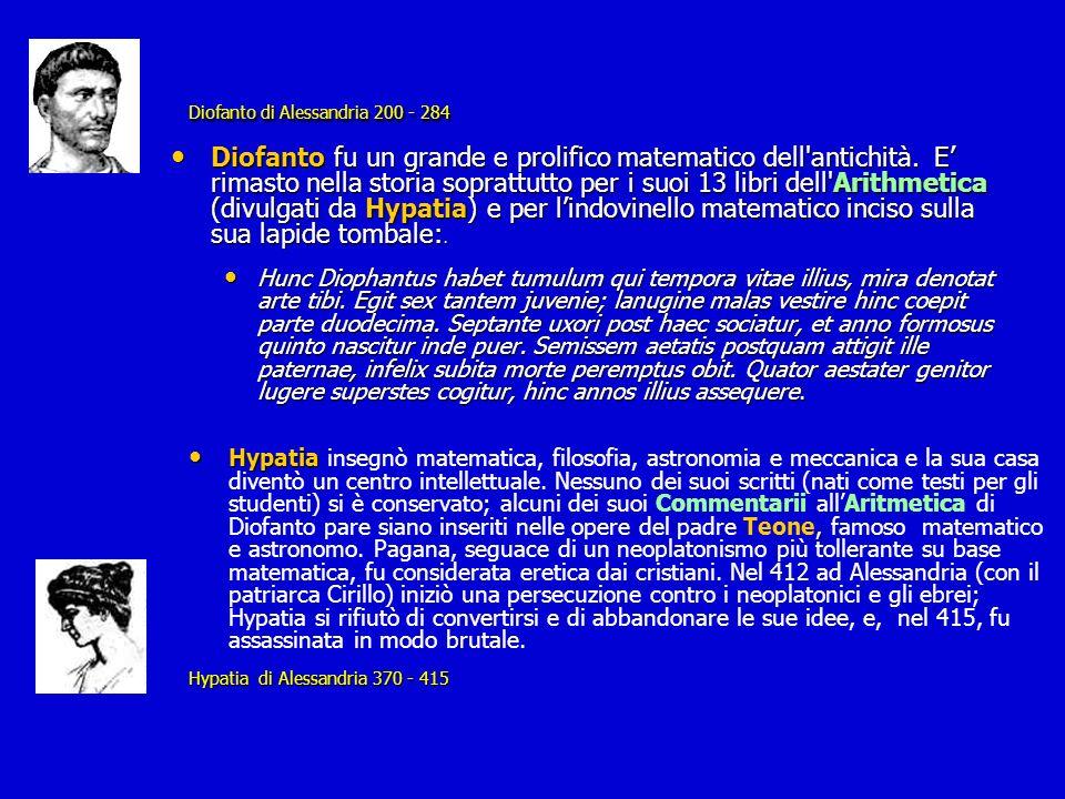Diofanto di Alessandria 200 - 284 Diofanto di Alessandria 200 - 284 Diofanto fu un grande e prolifico matematico dell'antichità. E rimasto nella stori