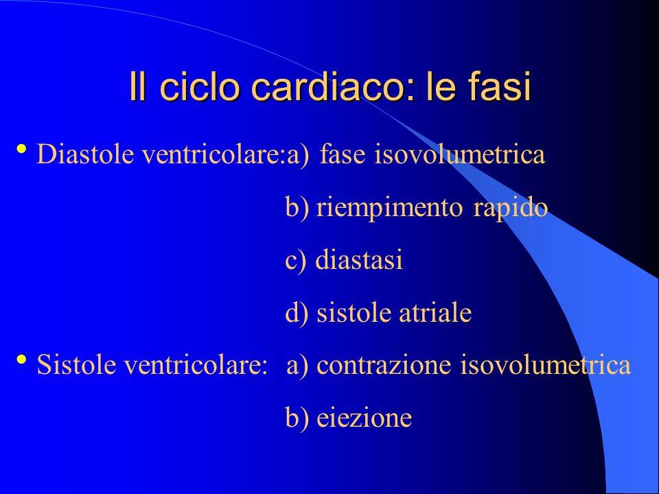 Il ciclo cardiaco: le fasi Diastole ventricolare:a) fase isovolumetrica b) riempimento rapido c) diastasi d) sistole atriale Sistole ventricolare: a)