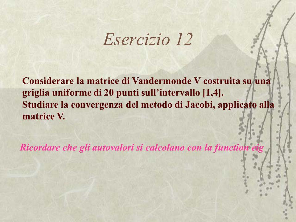 Esercizio 12 Considerare la matrice di Vandermonde V costruita su una griglia uniforme di 20 punti sullintervallo [1,4]. Studiare la convergenza del m