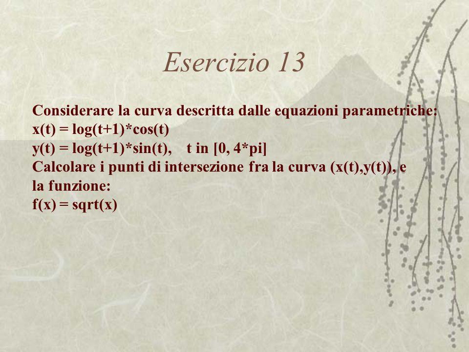 Esercizio 13 Considerare la curva descritta dalle equazioni parametriche: x(t) = log(t+1)*cos(t) y(t) = log(t+1)*sin(t), t in [0, 4*pi] Calcolare i pu