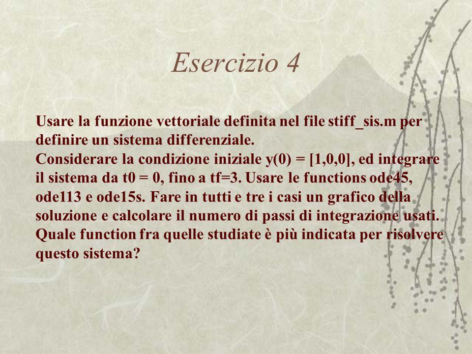 Esercizio 4 Usare la funzione vettoriale definita nel file stiff_sis.m per definire un sistema differenziale. Considerare la condizione iniziale y(0)