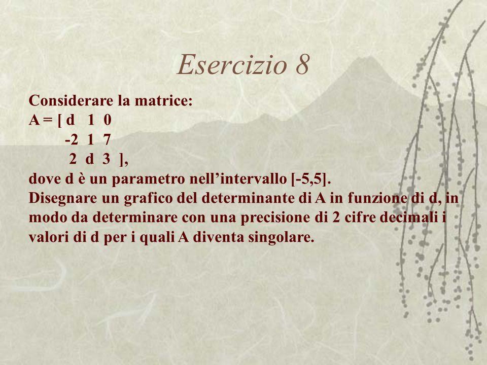 Esercizio 8 Considerare la matrice: A = [ d 1 0 -2 1 7 2 d 3 ], dove d è un parametro nellintervallo [-5,5]. Disegnare un grafico del determinante di