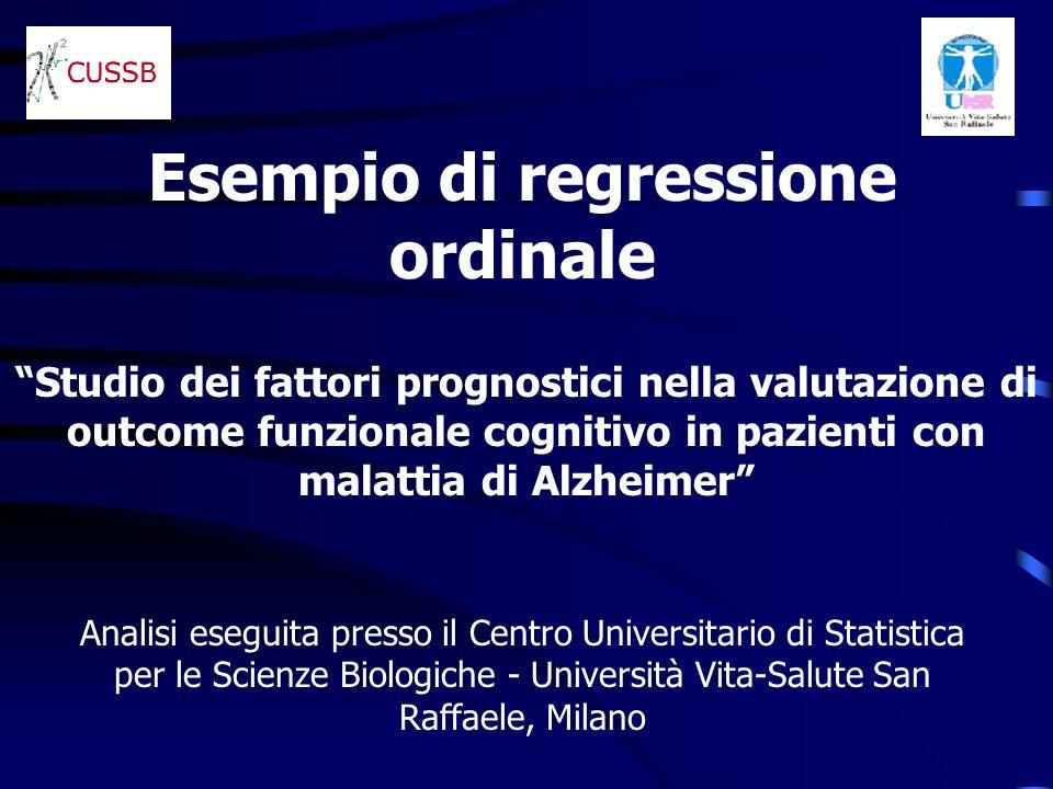 Studio dei fattori prognostici nella valutazione di outcome funzionale cognitivo in pazienti con malattia di Alzheimer Esempio di regressione ordinale