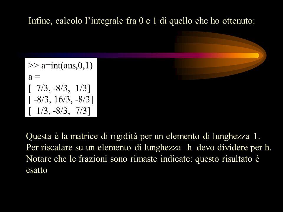 Infine, calcolo lintegrale fra 0 e 1 di quello che ho ottenuto: >> a=int(ans,0,1) a = [ 7/3, -8/3, 1/3] [ -8/3, 16/3, -8/3] [ 1/3, -8/3, 7/3] Questa è
