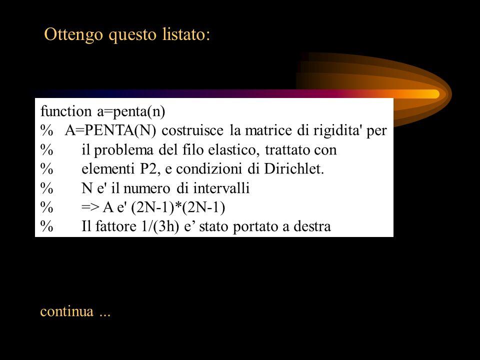 Ottengo questo listato: function a=penta(n) % A=PENTA(N) costruisce la matrice di rigidita' per % il problema del filo elastico, trattato con % elemen