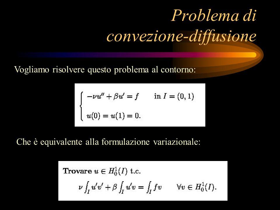 Problema di convezione-diffusione Vogliamo risolvere questo problema al contorno: Che è equivalente alla formulazione variazionale: